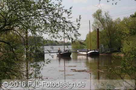 Schiffsbrücke in Leverkusen